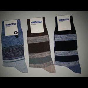 3 pair men's striped Birkenstock socks